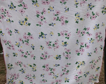 Vintage White with Pink Dogwood Blossoms Linen Tablecloth