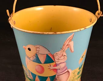 Vintage Yellow and Blue Metal Easter Pail with Handle