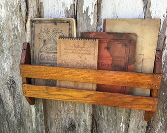 Vintage Oak Hymnal Rack from a Church Pew Great for Books and Magazines Wall Hanging