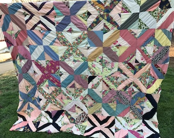 Vintage Mixed Fabrics String or Strips Quilt Top with Backing Fabric