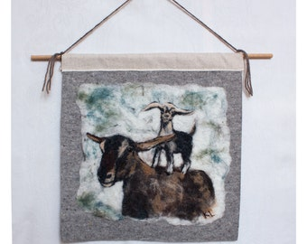 Felted Wool Painting Two Goats Wall Hanging
