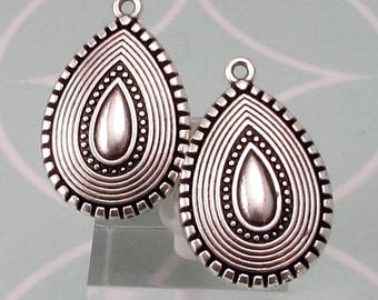 Boho Ethnic Teardrops, Antique Silver, 2 Pieces, AS445