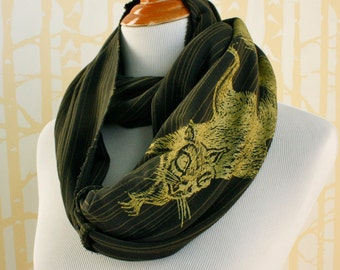Golden Squirrel Infinity Scarf for him or her on olive stripe organic cotton hand printed, American grown and sewn