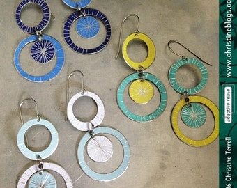 Starburst Circle Drops--Upcycled Tin Earrings
