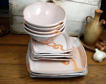 Dinnerware Set of Four Place Settings in Shale with Rust Waves - Made to Order