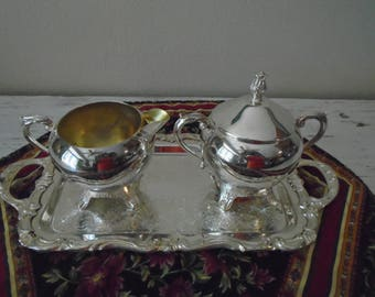 Silver creamer, sugar, serving platter by FB Roger Silver Co. vintage ornate silverplate serving piece