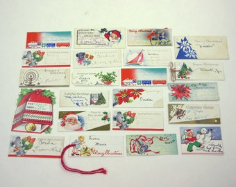 Set of 22 Assorted Vintage Christmas Tags String Tags or Cards Lot Z
