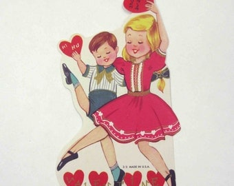 Vintage Children's Novelty Valentine Greeting Card with Pretty Girl and Boy Dancing