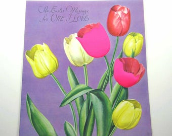 Vintage 1950s Extra Large Purple Rust Craft Easter Greeting Card with Pink Satin and Yellow Tulips
