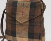WAXED FABRIC Shoulder BAG  Pleasing Plaid Flannel with Leather