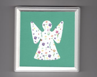 "Angel 5"" x 5"" Wood Plaque - Green Springtime - Colorful Baby Girl Nursery Wall Art - Spiritual Religious Catholic - Free Shipping"