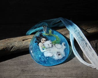 RESERVED for Sharon Amazing Polar Bear and Mermaid in the Water - Fantasy Fused Glass Pendant - Swimming Polar Bear- Save the polar bears