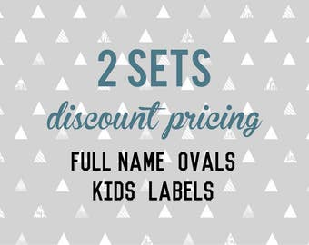 Full Name OVAL Kids Labels - 2 sets of 30 qty - Waterproof for Kids