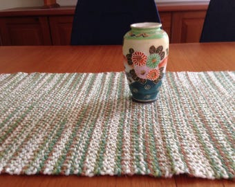 Handwoven table runner in landscape cotton