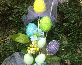 Easter Egg Bouquet, Easter Decoration, Easter Floral Arrangement, Tinsel Easter Eggs, Glitter Easter Egg Arrangement,