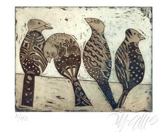 bird wall art, stylized birds print, bird print, wild birds, budgerigars wall print, etching, printmaking, good friends art, inspirational
