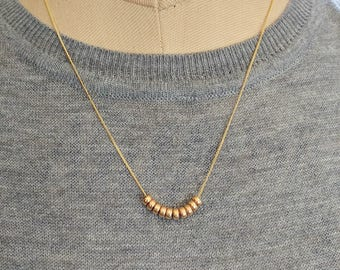 Necklace, 14kt gold filled Slider Bead Pendant, layering jewlery, floater beads