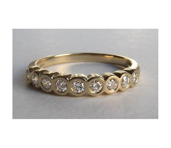 Eternity Ring, Bezel Set Diamonds, Size 6.5 Ready To Ship
