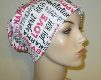 Love Joy Hope  Chemo Hat Chemo Cap, Cancer Hat, Alopecia, Modest Hat, Slouch Hat