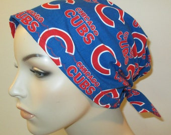Scrub Cap  Chemo Cap, Chicago Cubs  Hat, Cancer, Chemo Hat, Turban, Hair Loss