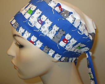 Scrub Cap Kittens Print  OR Cap Nurses Cap Surgical Cap Free Ship USA Adjustable Chemo Hat