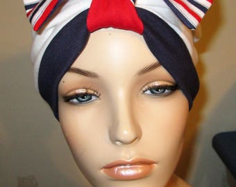 Patriotic Turban  Chemo Hat Womens Hat Cancer Hat Alopecia