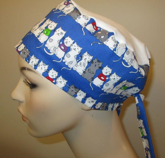Scrub Cap Kittens Print  OR Cap Nurses Cap Surgical Cap Free Ship USA Adjustable Chemo Hat
