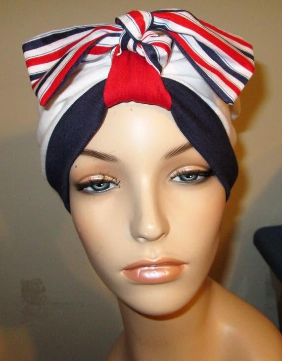Patriotic Turban  Chemo Hat Womens Hat Cancer Hat Alopecia