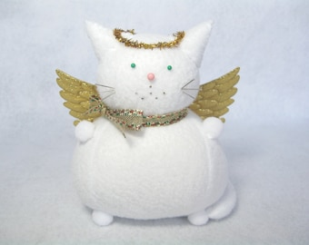 White angel cat, Felt cat pincushion, Gold angel wings, Cat lover gift, Christmas decoration, Cute stuffed cat, Sewing accessory, IN STOCK
