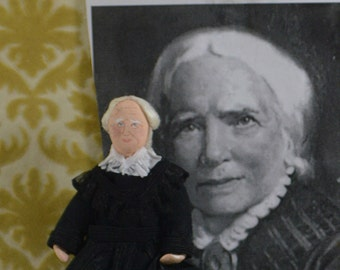 Elizabeth Blackwell,  Woman Doctor,  Medical History,  Art Doll Miniature, Women's Rights