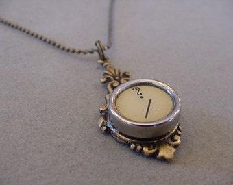 Aged Brass Typewriter Key Necklace Cream QUESTION MARK  Typewriter Key Pendant Necklace Typewriter Jewelry
