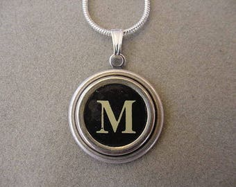 Typewriter key Jewelry Necklace - BLACK  LETTER  M - Typewriter Key Necklace - Initial M serif font Initial Necklace M