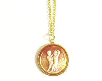 Gemini Astrology Necklace, Astrology Necklace, Vintage Astrology Cameo Necklace