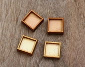 8pcs Square Wood Frame Charm, Carved, Engraved, Laser Cut Wood, Earring Supplies, Cabochons (WC 051)
