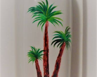 Palm Tree Butter Dish Hand Painted Palm Tree Covered Butter Dish Palm Tree Butter Dish With Lid