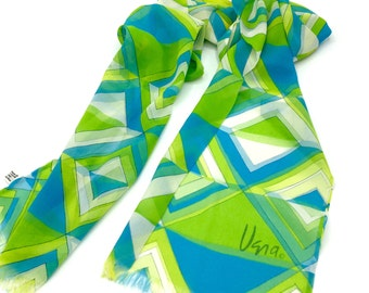 Vintage Vera Scarf, Bright Green Blue White Geometric, Long Scarf with Fringe