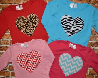 Girls Valentines  Heart  applique  tee shirt  6-12-18-24 mth 2 -3 -4 -5 -6 -7 -8 assorted colors  and fabrics