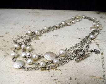 very long 61 inch freshwater pearls and sterling chain necklace to wrap or layer