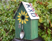 Rustic Birdhouse - License Plate Birdhouse - Spoon Birdhouse - Primitive Birdhouse - Sunflower Birdhouse