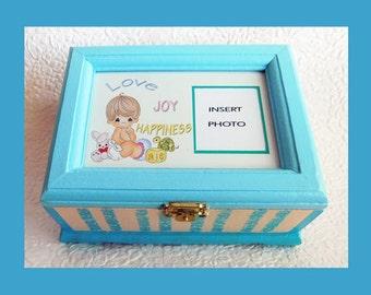 Baby Boy Music Memory Box, Keepsake Box, Plays Lullaby, Personalized Keepsake Box, Storage Box, Music Box, Baby Shower Gift, Photo Box