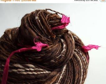 ON SALE Harry Potter Inspired - NOSEBLEED Nougat - Handspun Art Yarn. Browns, Caramel, Beads, Pink Silk. Luxury Knitting, Fantasy. 230 yds,