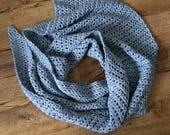 Waiting Shawl, crochet shawl pattern, beginner friendly, denim yarn shawl