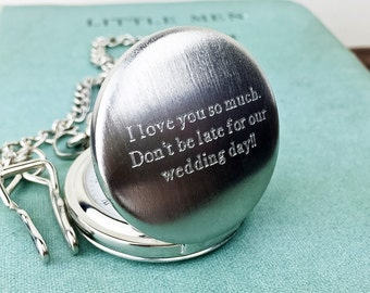 Men's Pocket Watch with Personalised Engraved Message. Fathers Day Gift, Groomsmen Gifts, Best Man or Wedding Party Gifts
