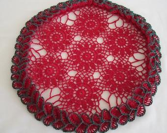 """Christmas ruffles crochet coaster doily black edge 14"""" outer 16"""" inner"""