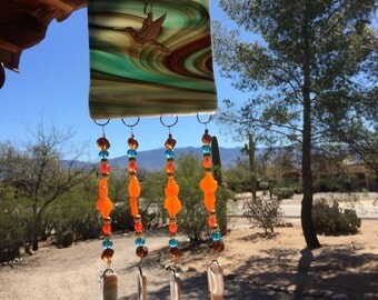 Hummingbird Windchime Southwest Glass