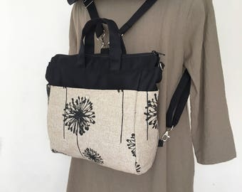4 WAYS bag / Tote / Cross Body / Shoulder / Backpack - Dandelion Black