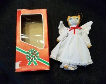 Vintage/Tabby Cat/Angel/Christmas/Ornament