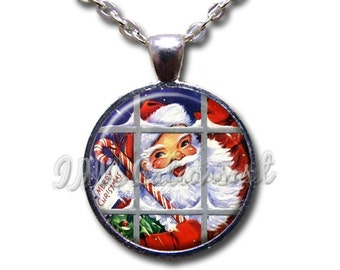 Christmas Holiday Whimsical Santa Claus Retro Window Glass Dome Pendant or with Chain Link Necklace HD187