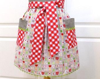 Half Apron Womens Retro Chic Kitchen Waist Aprons with Pockets