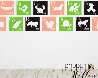 Children's Alphabet Wall Decal - Modern A to Z - Giraffe Monkey Elephant Frog Lion - Vinyl Wall Art Sticker - CL103